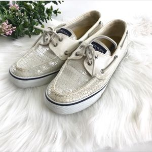 SPERRY Bahama White Sequin Boat Shoe 7.5